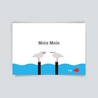 Maritime Postkarte. Moin Moin