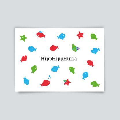 Maritime Postkarte. Hipp Hipp Hurra
