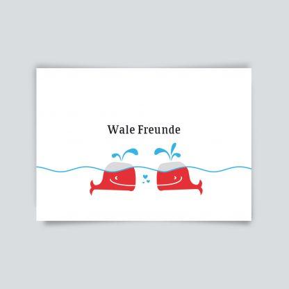 Maritime Postkarte. Wale Freunde