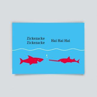 Maritime Postkarte. Zicke Zacke Hai Hai Hai