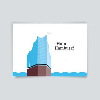 Maritime Postkarte. Moin Hamburg