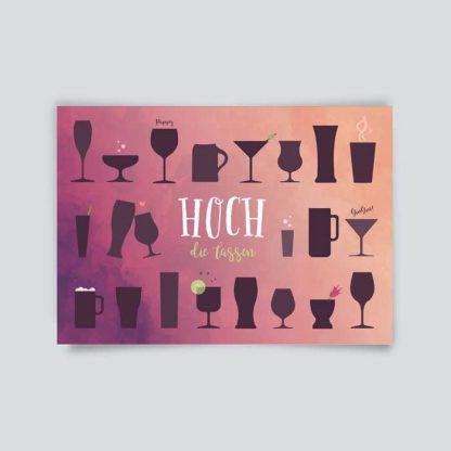 Postkarte * Hoch die Tassen