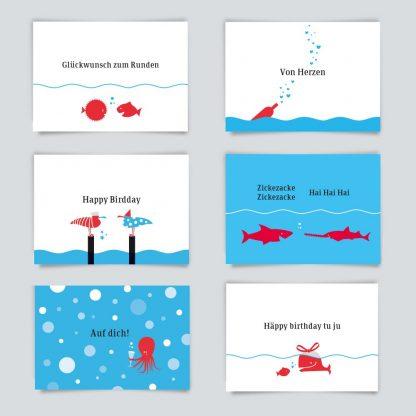 Maritime Postkarte. 6er Angebot