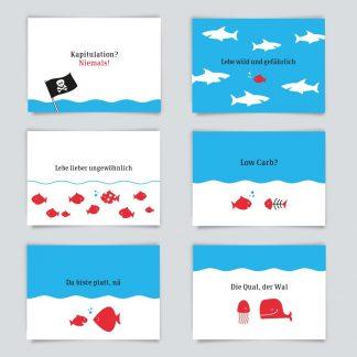 Maritime Postkarte. 6er Angebot.