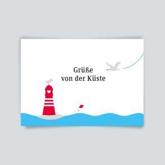 Maritime Postkarte. Grüße von der Küste.