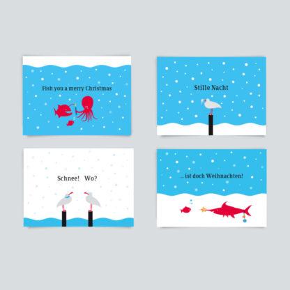 4er Postkarten-Paket Weihnachten