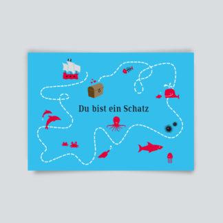 Postkarte Du bist ein Schatz