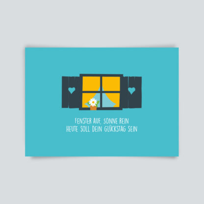Postkarte Fenster auf